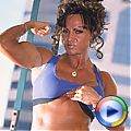 Buff babe Rhonda flexes her muscles then pumps up some cock