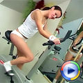 Sporty teen toying her wet slit after her heavy workout