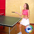 Teenie girl toying her pussy after a solo game of pingpong