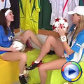 Teenage lesbians play with each other in dressing room