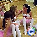 Four ballet loving teenies enjoying eachothers fit body