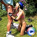 Blonde rollerskater teen sucking and fucking in the bushes