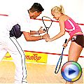 Cute blonde teenager gets fucked hard during a squash game